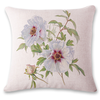 New astoral style small fresh flowers chair lumbar support back pillow photo customized pillow custom printed linen pillowcase image