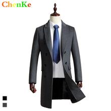 Black grey high quality medium long wool coat men winter jacket overcoat trench coat mens cashmere