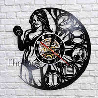 1Piece GYM Sport Fitness Vinyl Record Wall   Clock   Female Bodybuilder Silhouette   Clock   Modern Design Wall Art Decor For Fitness