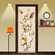 Chinese Style Golden Time Riches and Honour Flowers Door Sticker Wallpaper Wall Sticker Wall Living Room Bedroom Home Decor(China)