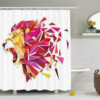 Cortina de ducha de decoración geométrica de LIBIN, figura del Rey León estilizada con en tonos degradados impresión artística moderna, tela B