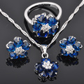 Perfect Blue Cubic Zirconia For Women Silver Jewelry Sets Pendant Necklace Earrings Rings Free Shipping  JS067