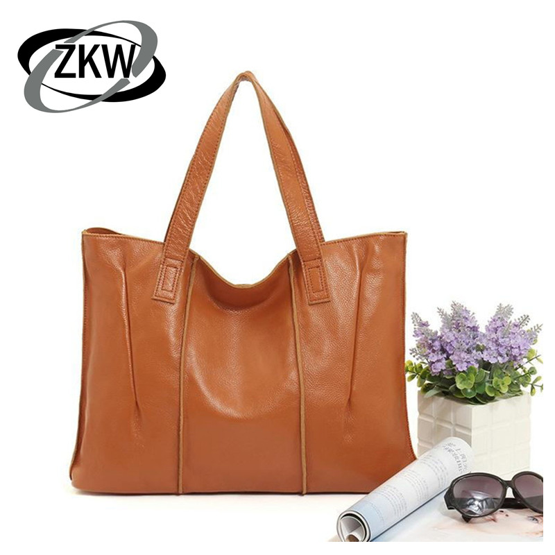 ZKW Good Quality Luxury Genuine Cow Leather Bags for Women Casual Large Capacity Soft Ziper Women