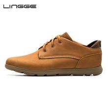 LINGGE мода ботинки мужские Настоящая кожа резиновые сапоги Бренд Мужчины Оксфорд Деловая обувь#5591-1