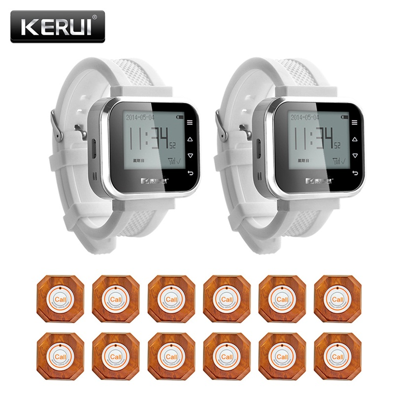 KERUI Waiter Service Calling System Watch Pager Restaurant Service System With 12pcs Call System Button Buzzers KR-C166+12 F61