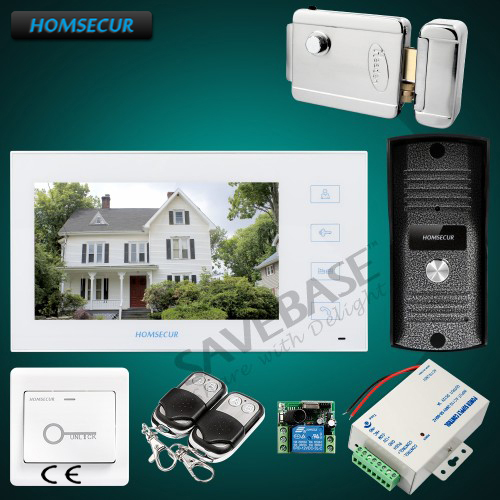HOMSECUR 7 Wired Video Door Phone Intercom System+Electric Lock+Power Supply+Remote Contoller+Exit Button homsecur 4 3inch wired video door phone intercom system with electric lock delivery from russia