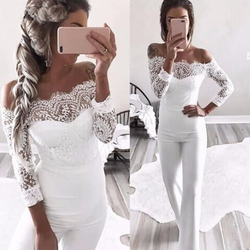 2018 Fashion Lace Summer Rompers Womens Jumpsuit Sexy Ladies Casual Elegant Off shoulder Long Trousers Overalls Black Jumpsuit
