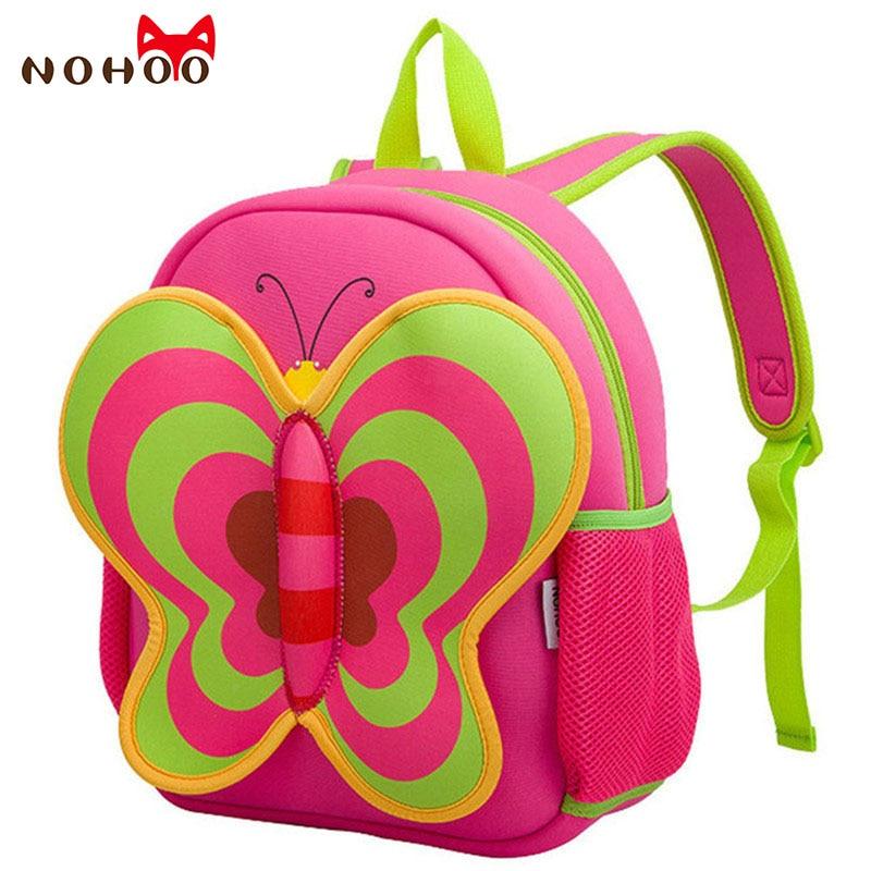 NOHOO Butterfly Waterproof School Bags for Kids Cartoon Animals Baby's School Backpacks For Girls Large Capacity Baby Backpack nohoo tiger type neoprene backpacks