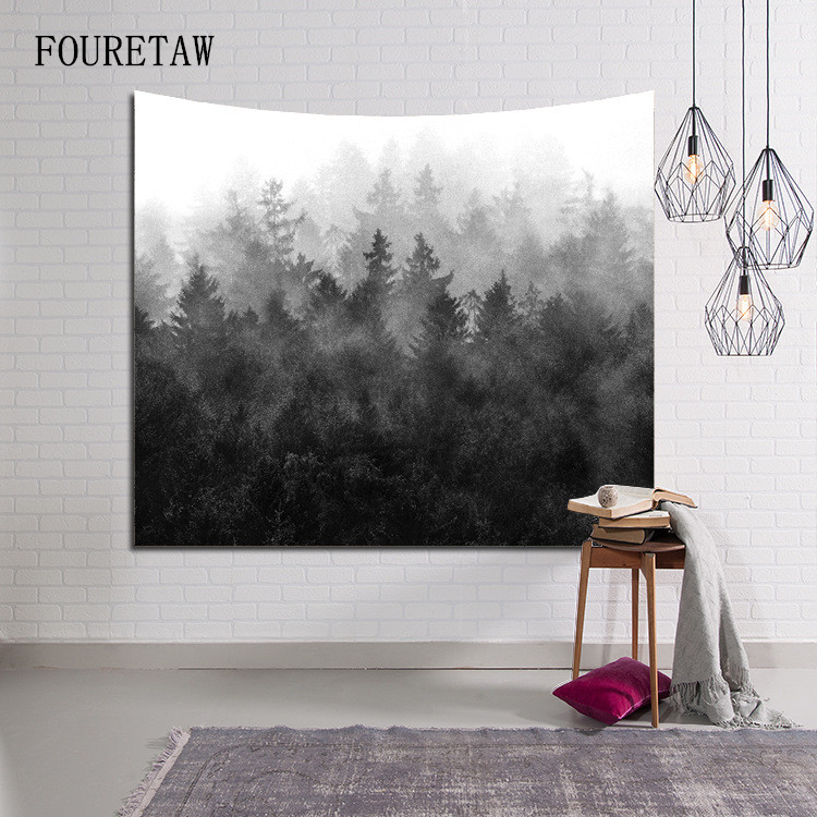 Honesty Fashion Winter Fog Virgin Forest Relax Scenic Colored Printed Decorative Mandala Tapestry 130cmx150cm Boho Wall Beach Carpet Home & Garden