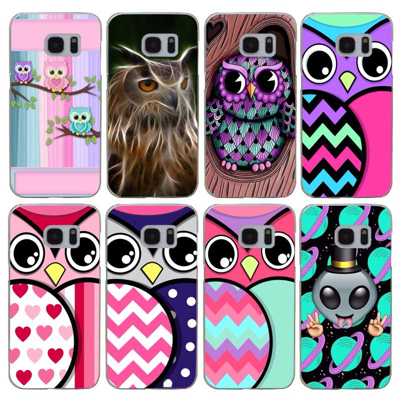 G443 Cute Cartoon Owl Transparent Hard PC Case Cover For Samsung Galaxy S 3 4 5 6 7 8 Mini Edge Plus Note 3 4 5 8