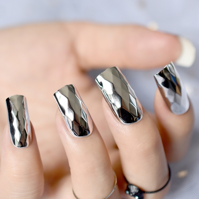 Diamond Design Artificial Nails Kit Long Size Flat Silver Mirror Acrylic False Nail Art Tips For