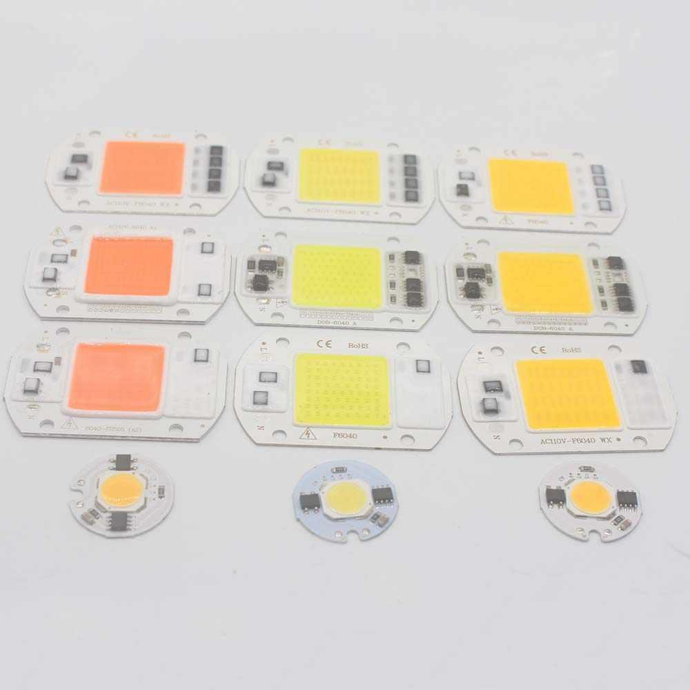 LED COB Chip 110V 220V 9W 10W 20W 30W 50W bombilla LED para lámpara de entrada inteligente IC reflector de la luz de inundación