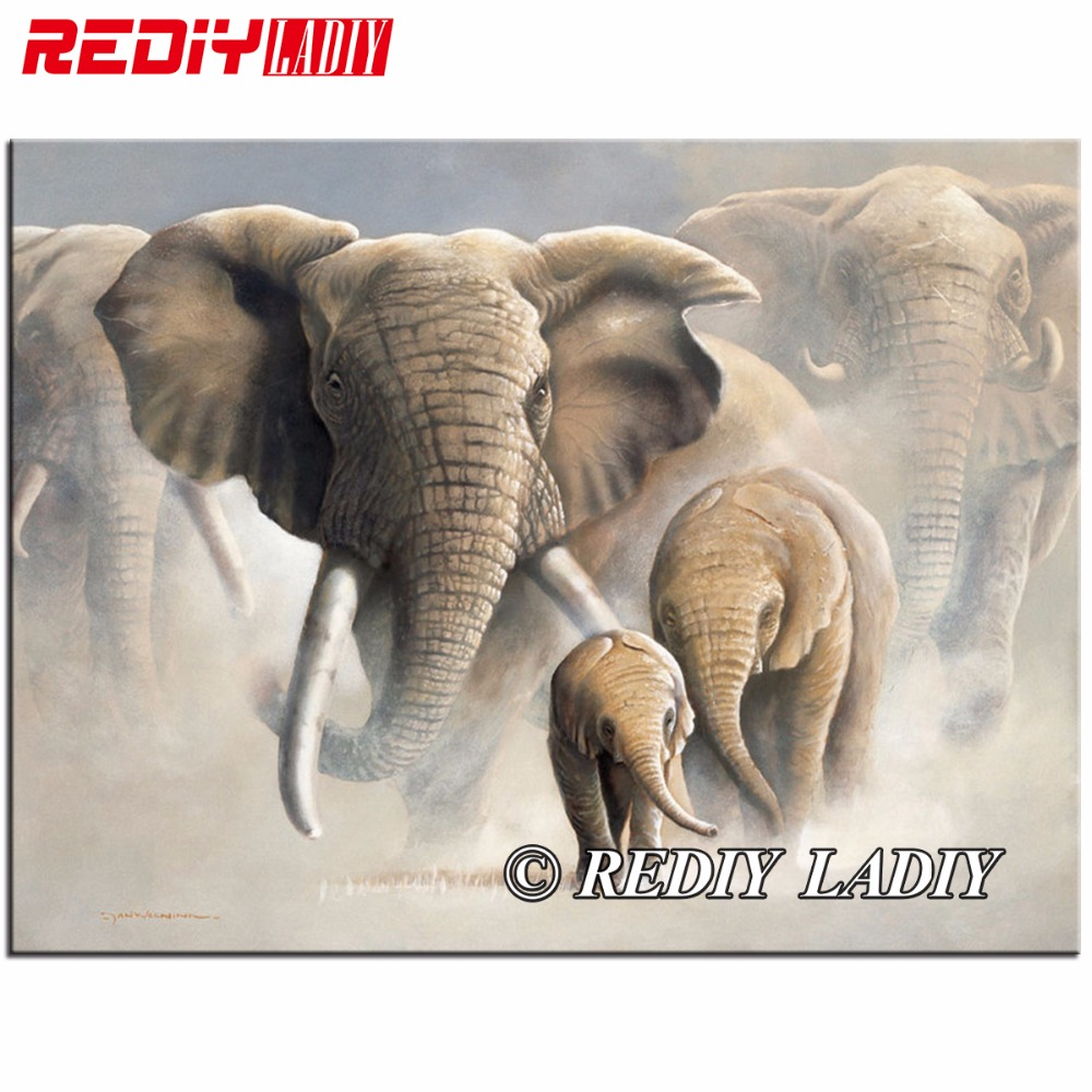 REDIY LADIY Diamond Mosaic Animals Elephant Family Diamond Painting Cross Stitch Kits Diamonds Embroidery Home Decoration Gifts