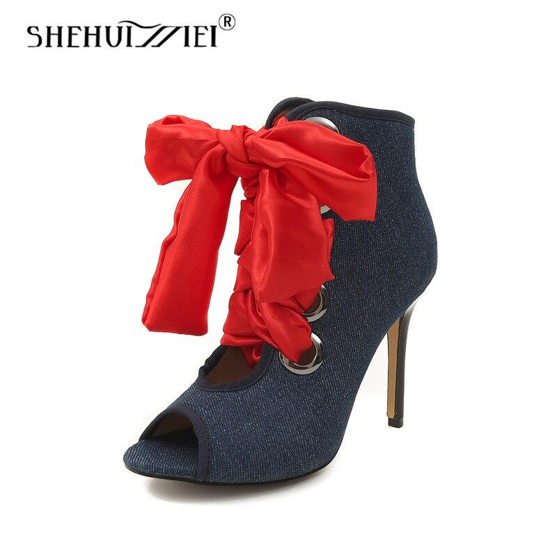 Shehuimei Shoes For Women Pumps Lace-Up Denim Open Peep Toe High Heels Summer Fashion Shoes Sandals High Quality Plus Size 46 недорго, оригинальная цена