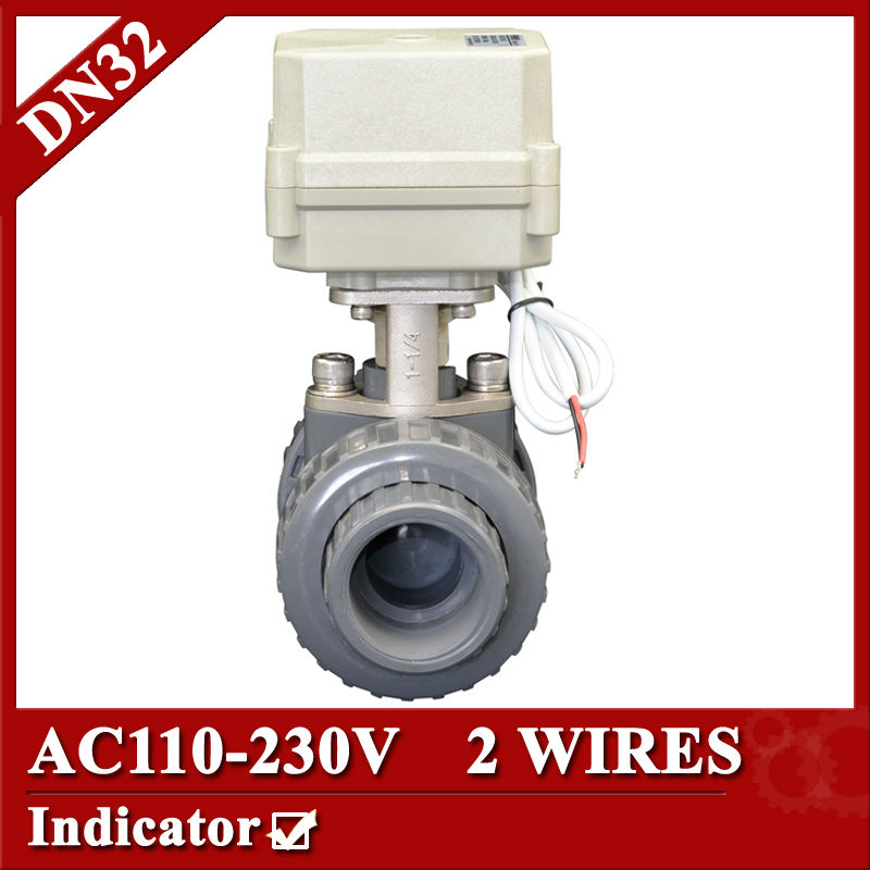 1 1/4 AC110-230V plastic motorized ball valve, 2 wires(CR202) electric ball valve,DN32 UPVC ball valve normal close/open 1 2 ss304 electric ball valve 2 port 110v to 230v motorized valve 5 wires dn15 electric valve with position feedback