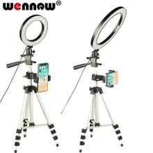 ניתן לעמעום LED סטודיו מצלמה טבעת אור צילום נייד טלפון וידאו טבעתי מנורת חצובה Selfie מקל לxiaomi iphone Canon ניקון
