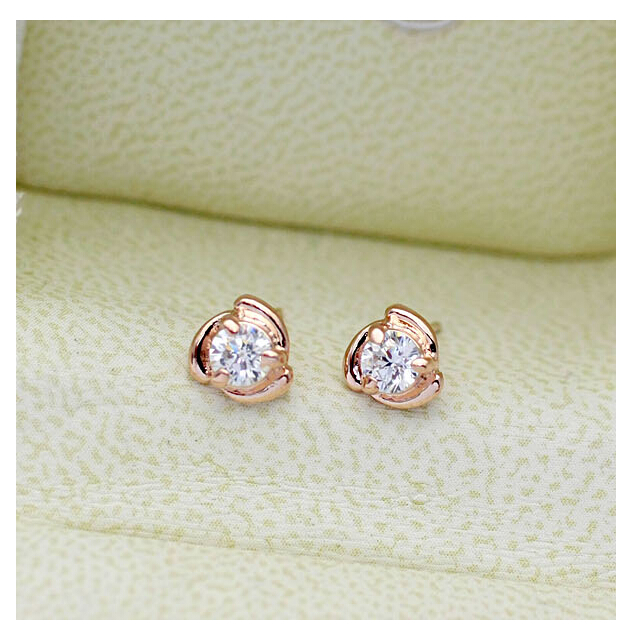 Fashion Small Stud Earring Shining Zircon Rhinestone Jewelry Plated 18k Gold White Stone Earrings Brinco Pequeno 81232 In From