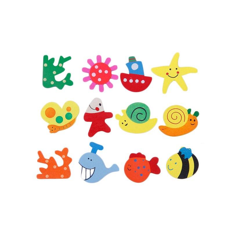 Realistisch Kleurrijke 12 Stks/pak Baby Kid Houten Cartoon Patroon Keuken Koelkast Magneten Stickers Educatief Speelgoed Verjaardag Gift-f1fb