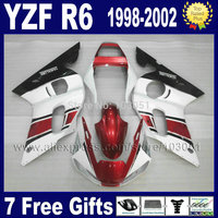 Llena de la motocicleta carenados para YAMAHA YZF R6 1998 1999 2000 2001 2002 YZFR6 98 99 01 02 YZF600 del mercado de accesorios de piezas de reparación