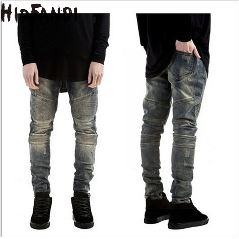 HIPFANDI 2017 Mens Skinny Biker Jeans Men Ripped Rider Denim Jeans Motorcycle Runway Slim Fit Washed Moto Denim Pants Joggers skinny biker jeans men hi street ripped rider denim jeans motorcycle runway slim fit washed moto denim pants joggers jw104