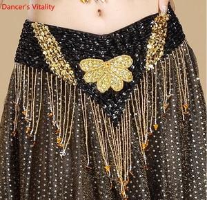 Image 2 - Oryantal dans kemer el yapımı çiçek Shining Sequins cıngıllı şal altın mor kırmızı mavi siyah ücretsiz kargo