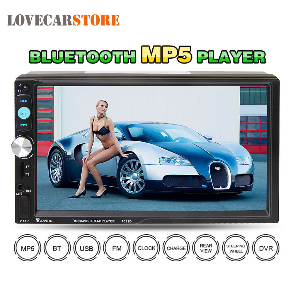 7023D 7 Inch 2 DIN HD Bluetooth Auto Car Stereo Audio MP5 Player FM Radio Support Card Reader Fast Charge USB SD MMC AUX DVR 1563u 1 din 12v car radio audio stereo mp3 players cd player support usb sd mp3 player aux dvd vcd cd player with remote control