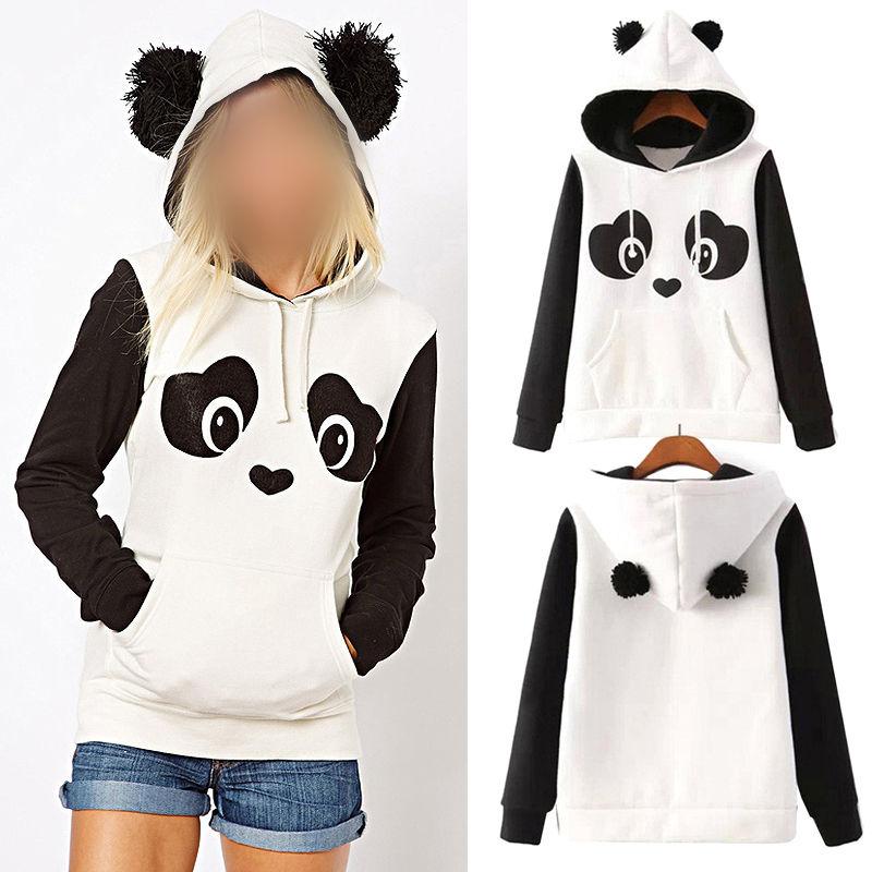 S-3XL Cute Cotton Blended Women's Panda Fleece Pullover Hoodie Sweatshirts Hooded Coat Tops Hot!