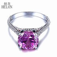 HELON Noble Solid 14k White Gold 9mm Round Cut Pink Topaz Real Diamonds Ring Engagement Wedding