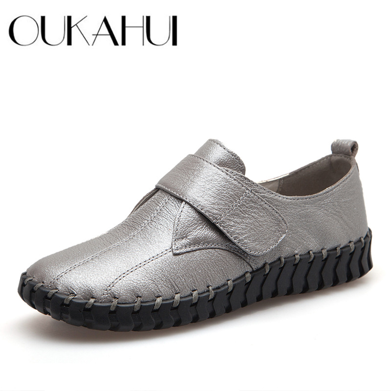 OUKAHUI Spring Silver Ladies Genuine Leather Handmade Shoes Women Hook And Loop Flat Shoes Women 2019 Autumn Soft Loafers Flats