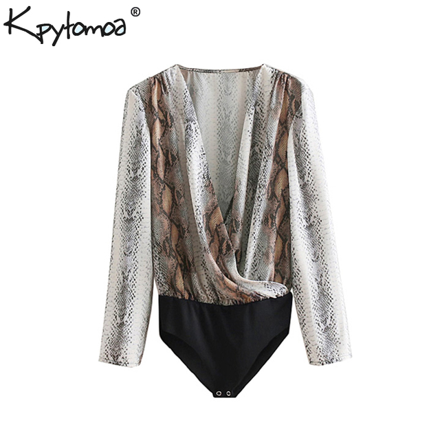 98d277cad49 Vintage Flowy Snake Print Wrap Bodysuits Women 2018 Fashion V Neck Long  Sleeve Animal Pattern Sexy Playsuits Casual Body Mujer