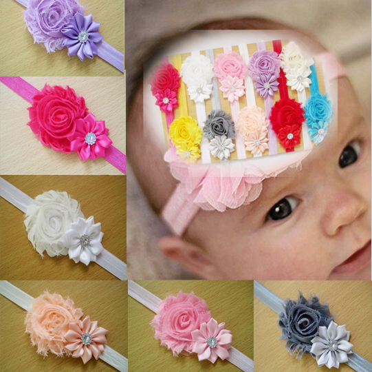 12 Pc/lot Different Colors Kids Girl Baby Toddler Infant Flower Hairband Headband Headwear Hair Bow Band Accessories A077-1