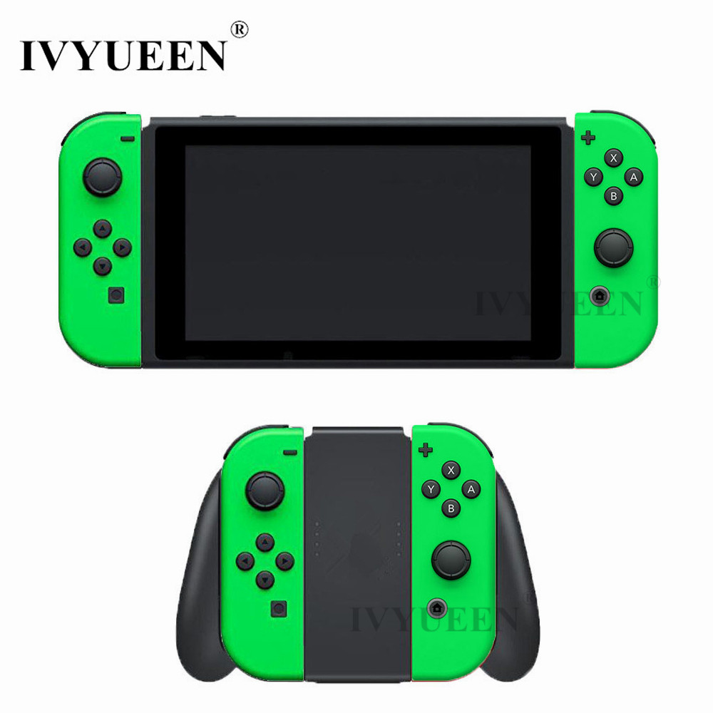 IVYUEEN for Nintend Switch Joy-Con Neon Green Pink Shell Case for JoyCon Controller Replacement Housing Cover with Middle frame ivyueen green pink red housing replacement cover for nintend switch ns joy con shell joy cons controller case game accessories