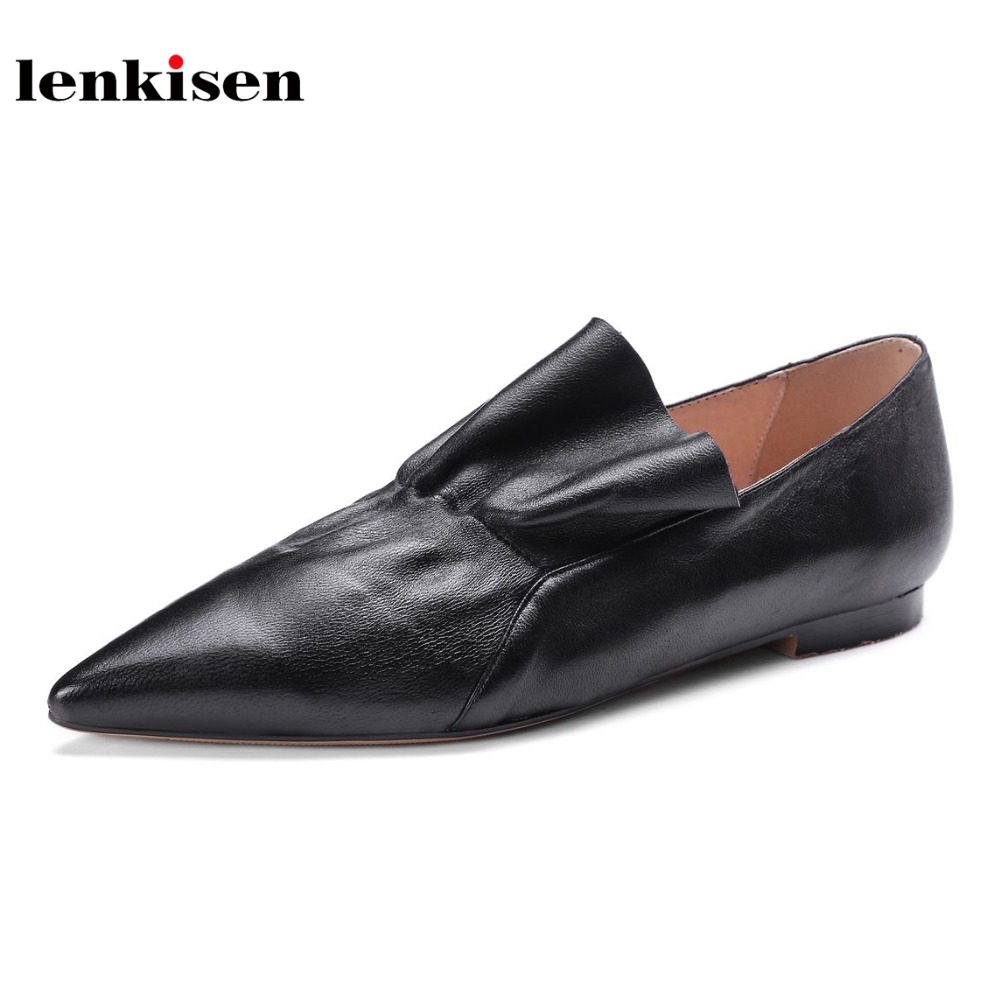 Lenkisen new genuine leather preppy style pointed toe shoes women slip on low heels pleated solid classic simple women pumps L19 simple style solid color cowl neck 3 4 sleeve pleated loose blouse for women