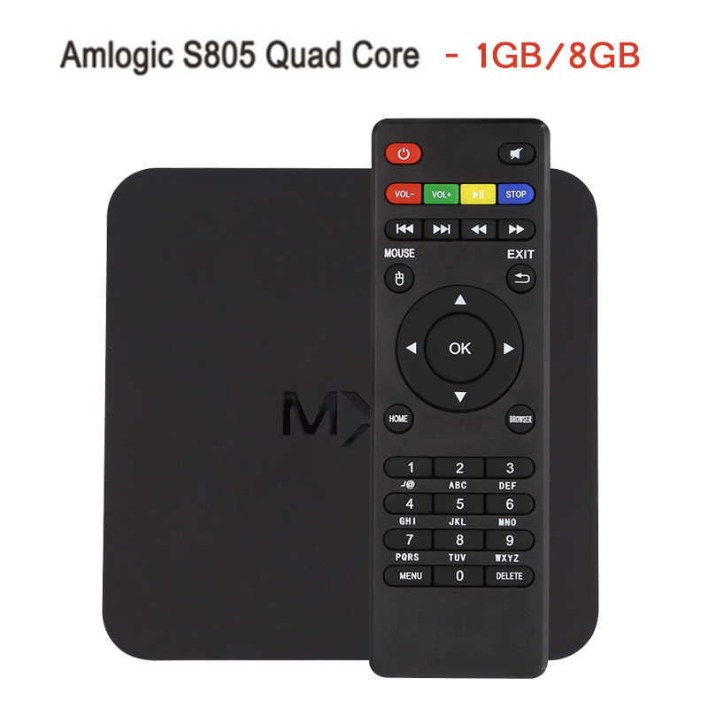 In Stock ! MX Amlogic S805 Quad Core TV Box Android 4.4 Kitkat H.265 Wifi Miracast Airplay HDMI 1GB RAM 8GB ROM Media Player