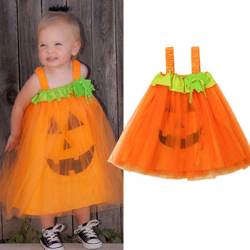 Pumpkin Baby Kids Girl Sleeveless Princess Dress Party Orange Pumpkin Mesh Tutu Mini Dress одежда на маленьких мальчиков