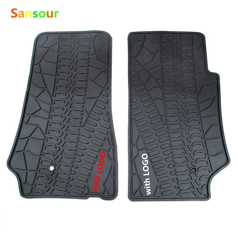 Sansour personnalisé fit noir avec logo tapis de sol de voiture pour Jeep Wrangler 3D voiture-style lourd tapis de sol liner 2007 up