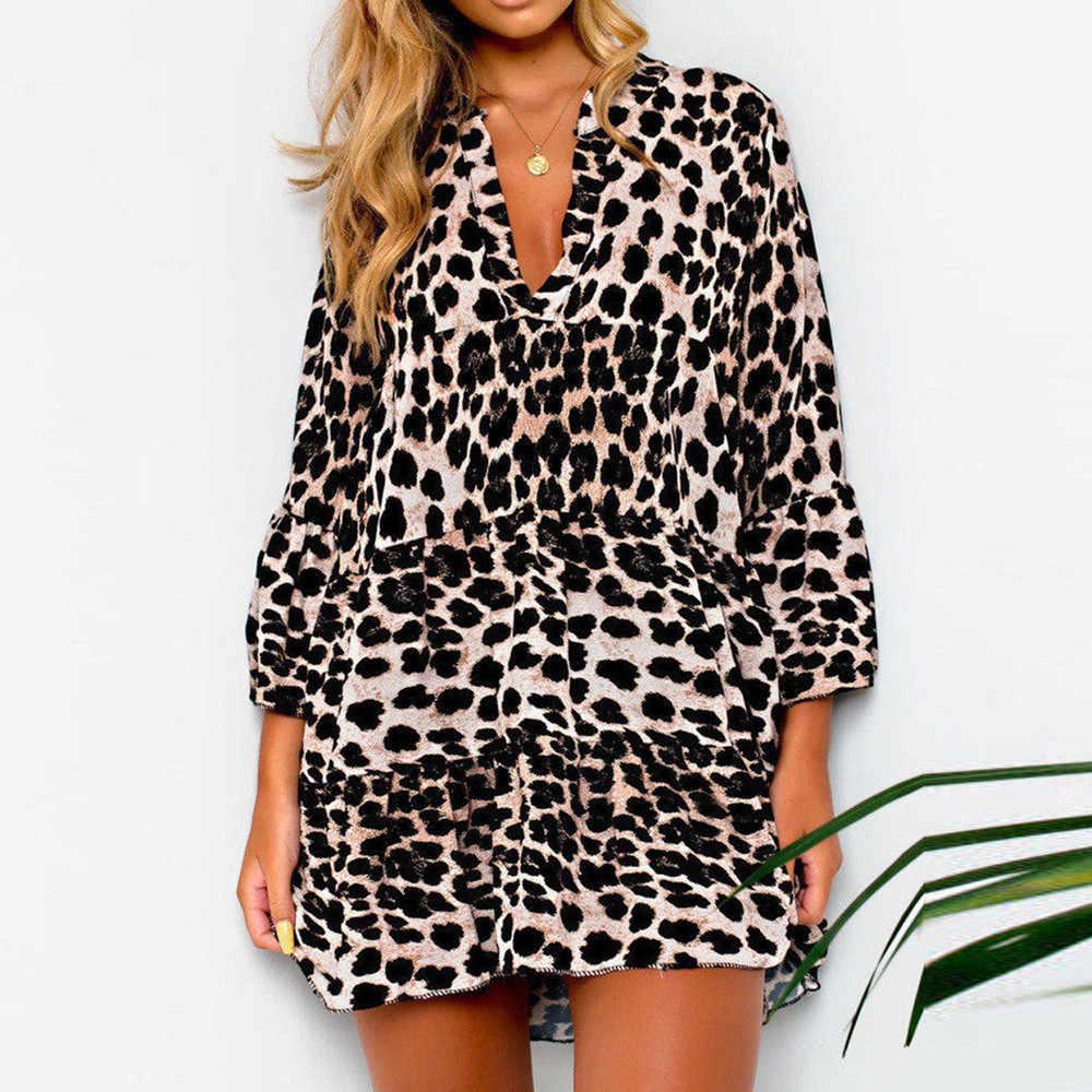 2018 Newly Arrival Womens Fashion Leopard Print Frill Hem Shift Skater Dress  Party Women Sexy Leopard 157a86c6e