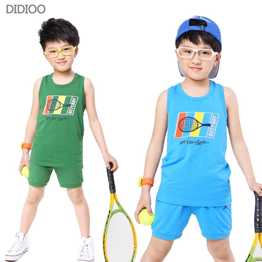 faf7138140f910 Jongens kleding zomer katoen casual kids kleding jongens patroon sport pak  voor jongens pullover vest   korte broek 2 stks kids trainingspak