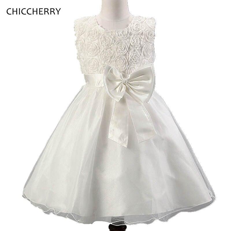 Weiß 3D Rose Baby Mädchen Kleidung Bowknot Kinder Hochzeit Kleid ...