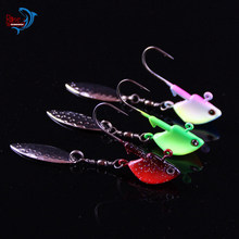 3.5g 7g 10g Jig Head Fishing Lure Hard Bait Red Pink Green Glows Color With Willow Spinner Blade 2pcs/Lot(China)