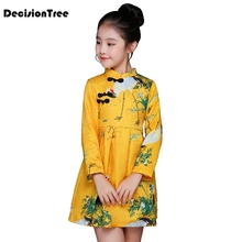 2019 new arrival girls chinese style cheongsam kids long sleeve crane print dresses qipao clothes Baby Princess Dress