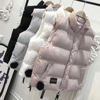 MUMUZI 2018 Fashion Women Winter Slim Cotton Warm Vest Coat Solid Sleeveless Jacket Vest Waistcoat with hairy ball Parkas