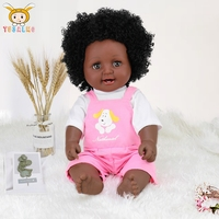 BIG 48cm black Reborn Baby Dolls afro hair girls toy for Children silicone lifelike beauty Doll silicone baby doll Ethnic