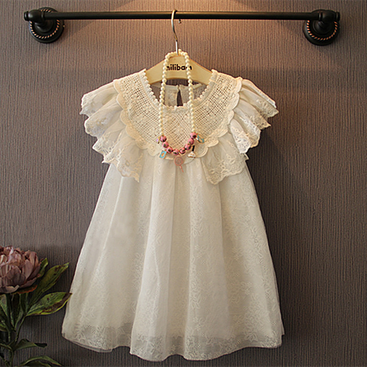 2017 new Summer Girls font b Kids b font Fly sleeve super soft delicate lace doll