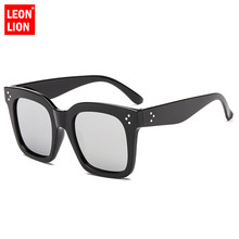 LeonLion 2018 Big Frame Sunglasses Women Leopard Square Luxury Man/Women Sun Glasses Classic Vintage Oculos De Sol Feminino