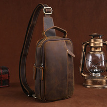 Men Crazy Horse Cowhide Chest Bags Shoulder Messenger Bag Casual Retro Handbag  Cross Body Sling  Back Day Pack