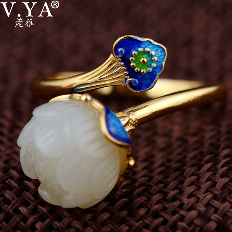 V.YA Vintage Green Stone Lotus Flower Ring For Women Lady Chinese Style Real Pure 925 Sterling Silver Rings Fashion Jewelry vintage pearl ring ancient real 925 sterling rings for women 2019 new fashion bohemia jewelry