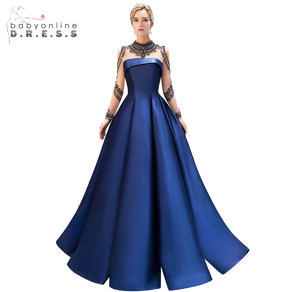 Elegant Reflective Dress Navy Blue Long Prom Dresses 2019 Beading Crystal Long Sleeve Party Gowns Draped Formal Party Dresses