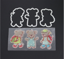 AZSG Bear Dies Clear Stamps For DIY Scrapbooking/Card Making Decorative Silicone Stamp Crafts