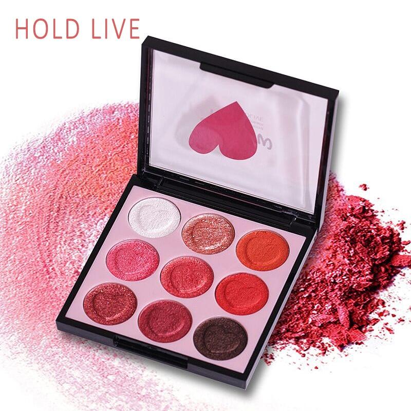 HOLD LIVE 9 Color Eyeshadow Palette Shimmer Matte Glitter Eye Shadow Palette Pigment Diamond Eyeshadow Glitter Nude Eyes Makeup